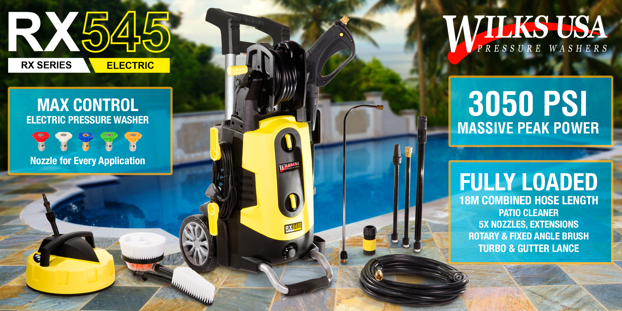 Electric Pressure Washer 3050 Psi 210 Bar Power Patio