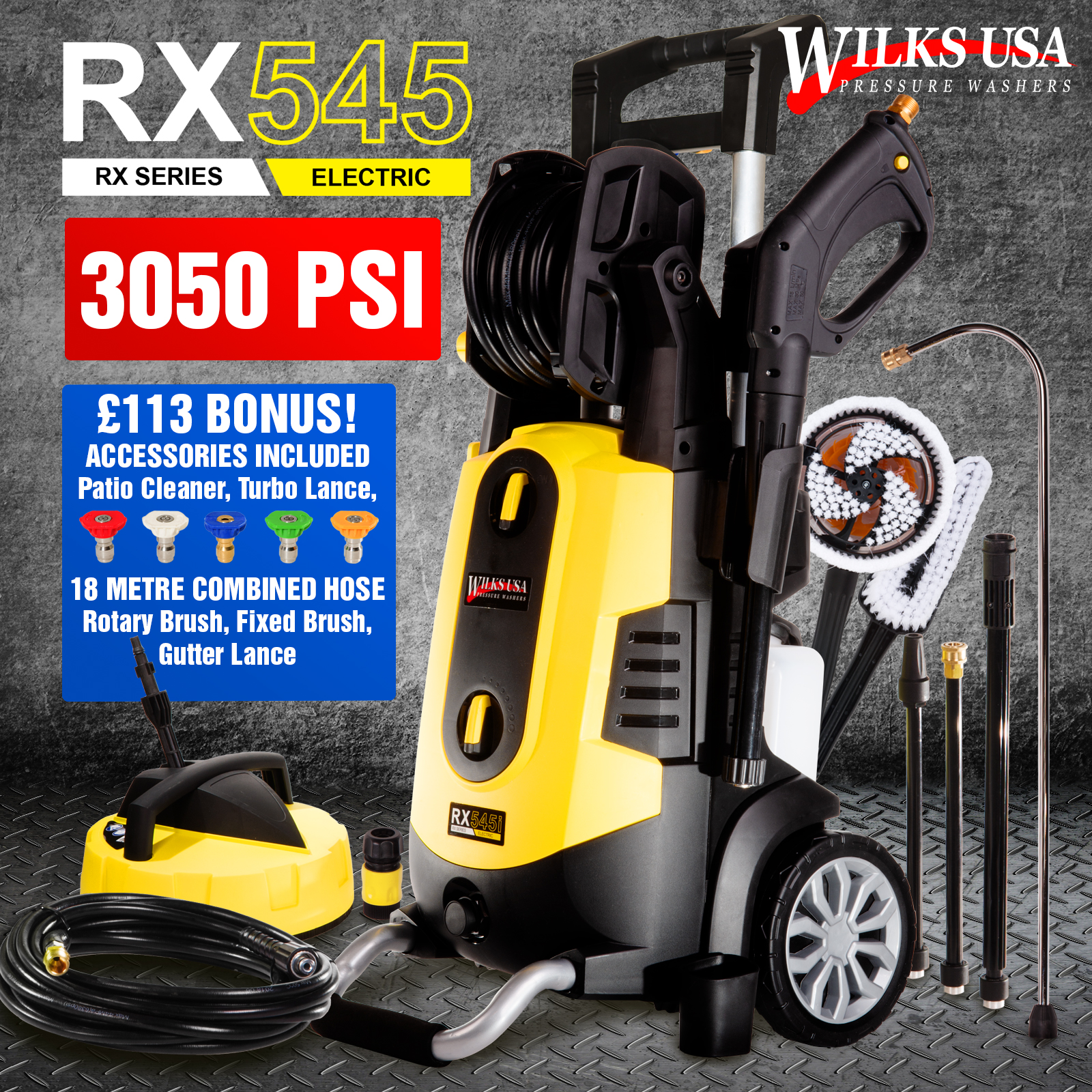 Electric Pressure Washer 1950 Psi 1800w Power Jet Spray