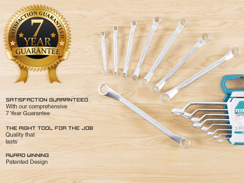 Total Tools COMBINATION SPANNER WRENCH SET 8PC Hand Heavy Duty Offset Ring End